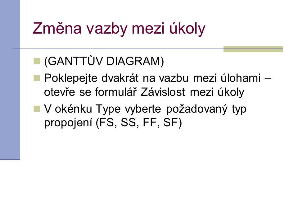 Změna vazby mezi úkoly  (GANTTŮV DIAGRAM)  Poklepejte dvakrát na vazbu mezi úlohami – otevře se formulář Závislost mezi úkoly  V okénku Type vybert