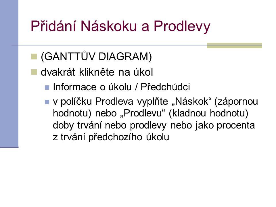 """Přidání Náskoku a Prodlevy  (GANTTŮV DIAGRAM)  dvakrát klikněte na úkol  Informace o úkolu / Předchůdci  v políčku Prodleva vyplňte """"Náskok"""" (zápo"""