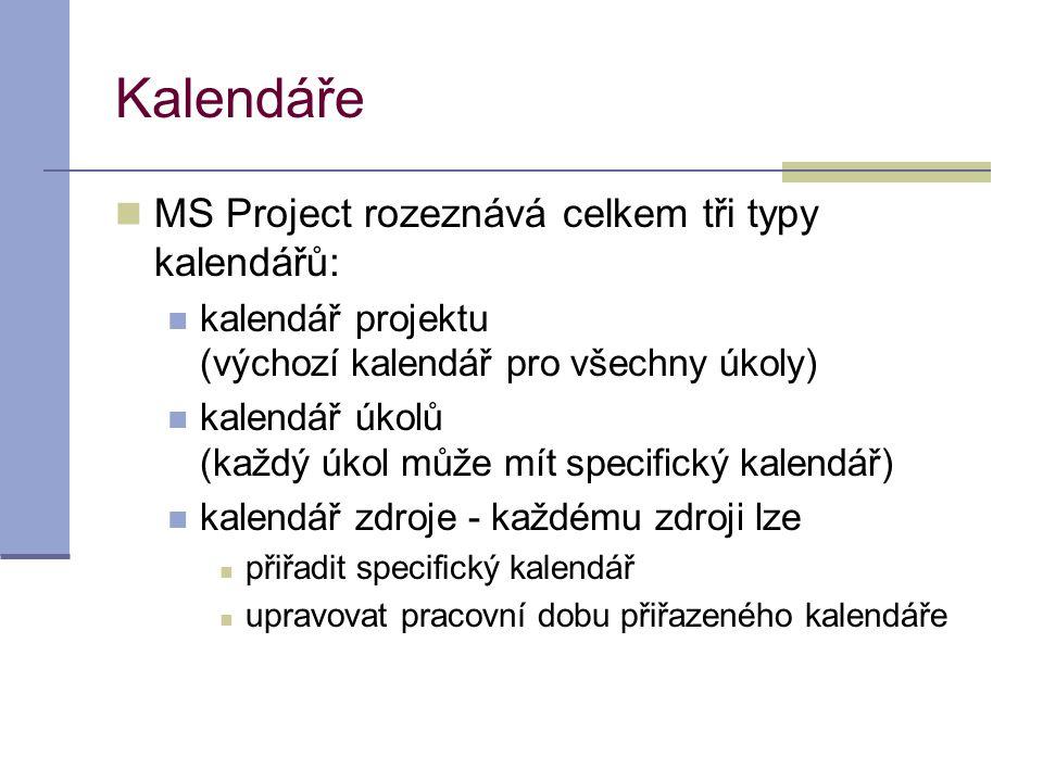 Kalendáře  MS Project rozeznává celkem tři typy kalendářů:  kalendář projektu (výchozí kalendář pro všechny úkoly)  kalendář úkolů (každý úkol může