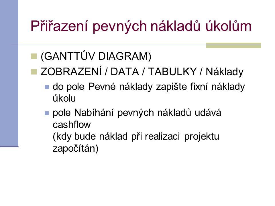 Přiřazení pevných nákladů úkolům  (GANTTŮV DIAGRAM)  ZOBRAZENÍ / DATA / TABULKY / Náklady  do pole Pevné náklady zapište fixní náklady úkolu  pole