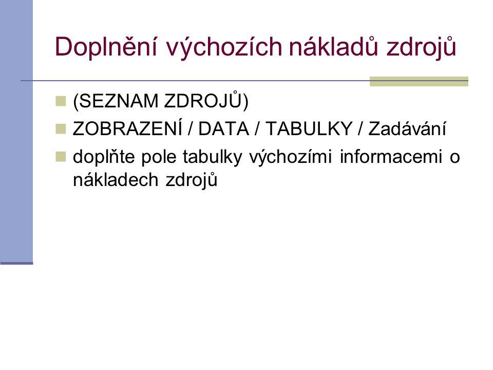 Doplnění výchozích nákladů zdrojů  (SEZNAM ZDROJŮ)  ZOBRAZENÍ / DATA / TABULKY / Zadávání  doplňte pole tabulky výchozími informacemi o nákladech z