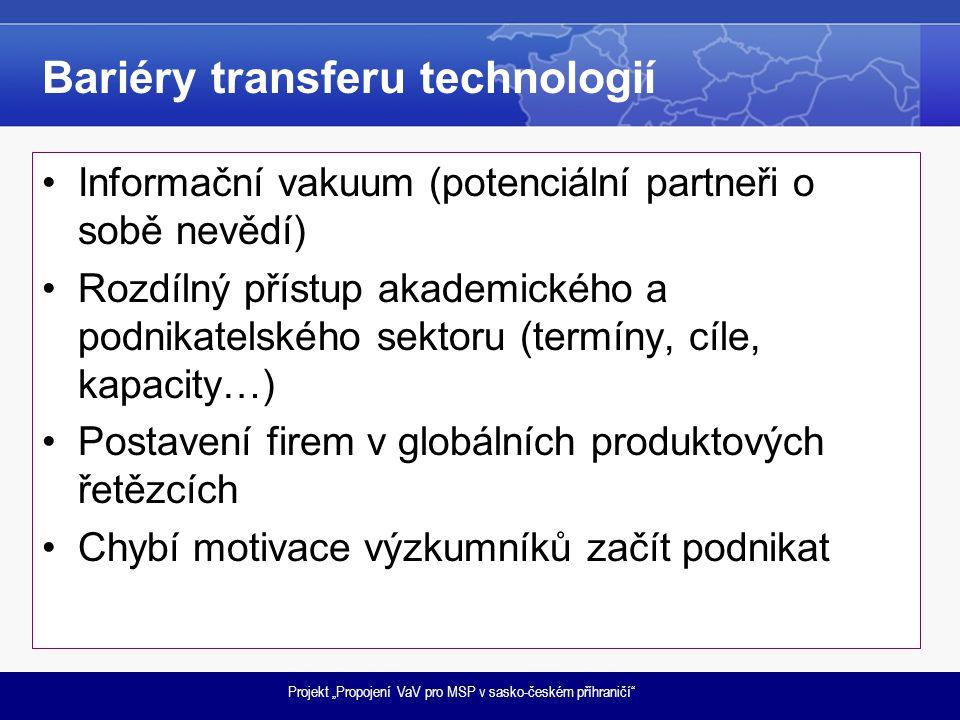 """Projekt """"Propojení VaV pro MSP v sasko-českém příhraničí"""" Bariéry transferu technologií •Informační vakuum (potenciální partneři o sobě nevědí) •Rozdí"""