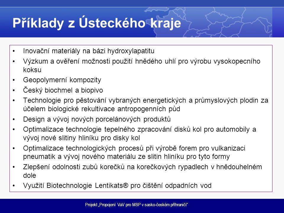 """Projekt """"Propojení VaV pro MSP v sasko-českém příhraničí"""" Příklady z Ústeckého kraje •Inovační materiály na bázi hydroxylapatitu •Výzkum a ověření mož"""