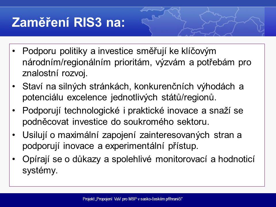 """Projekt """"Propojení VaV pro MSP v sasko-českém příhraničí"""" Zaměření RIS3 na: •Podporu politiky a investice směřují ke klíčovým národním/regionálním pri"""