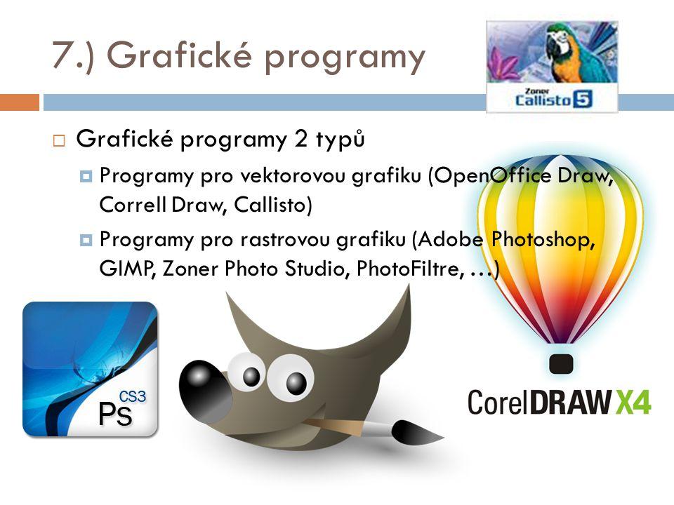 7.) Grafické programy  Grafické programy 2 typů  Programy pro vektorovou grafiku (OpenOffice Draw, Correll Draw, Callisto)  Programy pro rastrovou