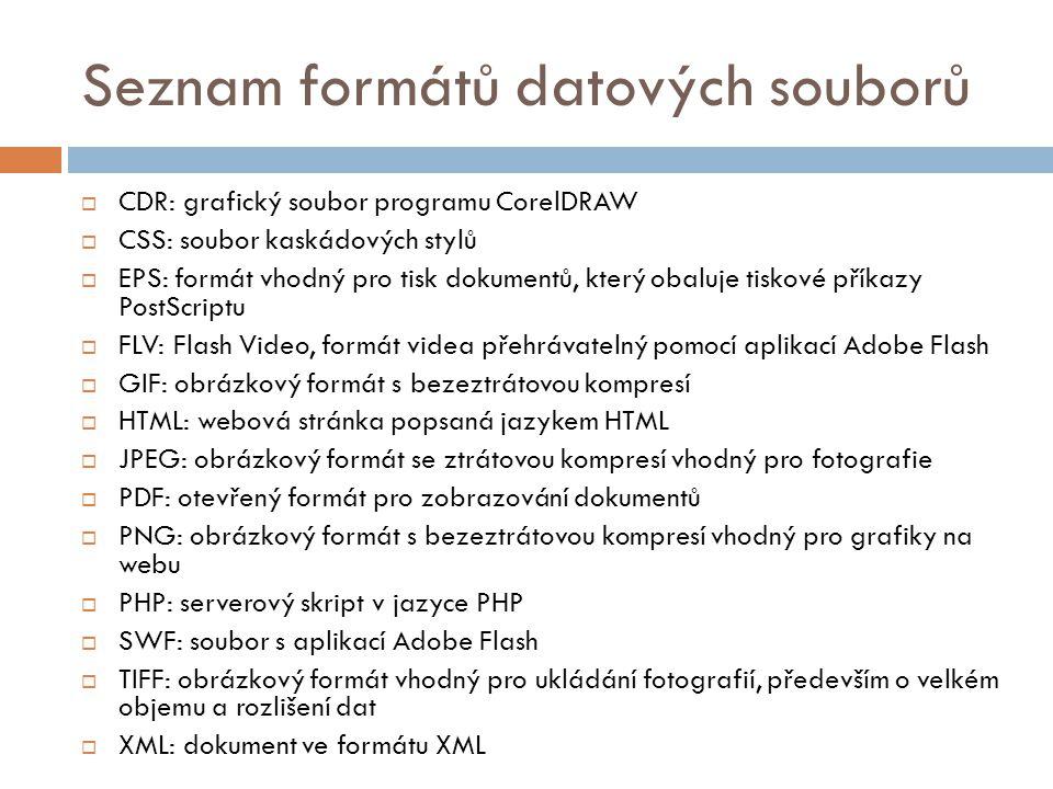 Seznam formátů datových souborů  CDR: grafický soubor programu CorelDRAW  CSS: soubor kaskádových stylů  EPS: formát vhodný pro tisk dokumentů, kte