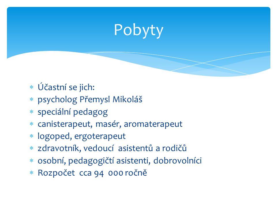  Účastní se jich:  psycholog Přemysl Mikoláš  speciální pedagog  canisterapeut, masér, aromaterapeut  logoped, ergoterapeut  zdravotník, vedoucí