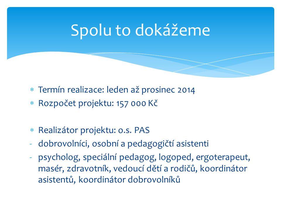  Termín realizace: leden až prosinec 2014  Rozpočet projektu: 157 000 Kč  Realizátor projektu: o.s. PAS -dobrovolníci, osobní a pedagogičtí asisten