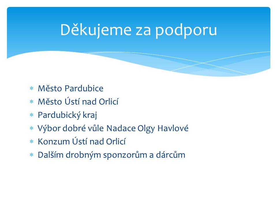  Město Pardubice  Město Ústí nad Orlicí  Pardubický kraj  Výbor dobré vůle Nadace Olgy Havlové  Konzum Ústí nad Orlicí  Dalším drobným sponzorům