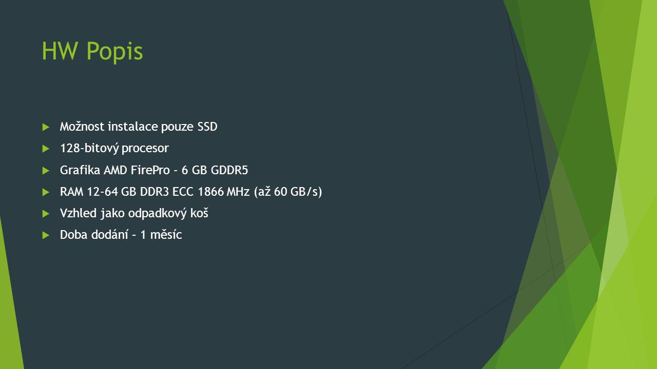 HW Popis  Možnost instalace pouze SSD  128-bitový procesor  Grafika AMD FirePro - 6 GB GDDR5  RAM 12-64 GB DDR3 ECC 1866 MHz (až 60 GB/s)  Vzhled