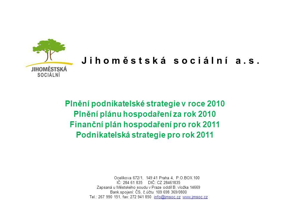 J i h o m ě s t s k á s o c i á l n í a. s. Plnění podnikatelské strategie v roce 2010 Plnění plánu hospodaření za rok 2010 Finanční plán hospodaření
