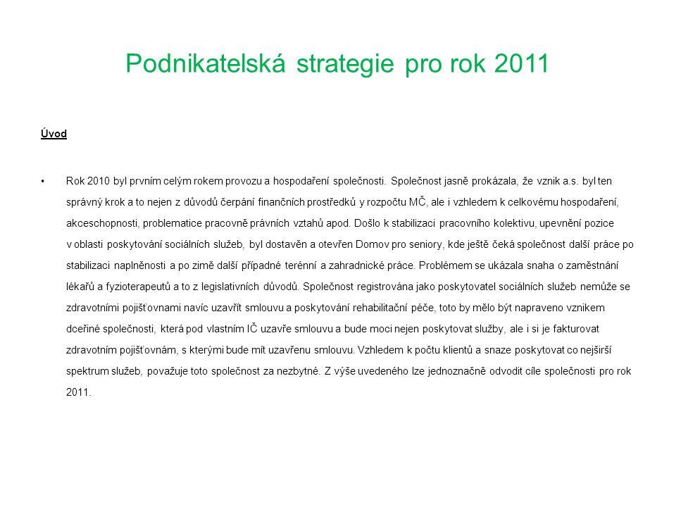 Podnikatelská strategie pro rok 2011 Úvod •Rok 2010 byl prvním celým rokem provozu a hospodaření společnosti. Společnost jasně prokázala, že vznik a.s