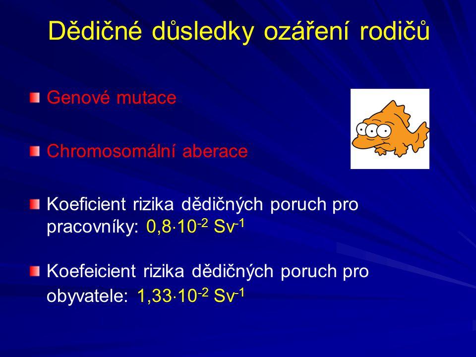Dědičné důsledky ozáření rodičů Genové mutace Chromosomální aberace Koeficient rizika dědičných poruch pro pracovníky: 0,8  10 -2 Sv -1 Koefeicient rizika dědičných poruch pro obyvatele: 1,33  10 -2 Sv -1