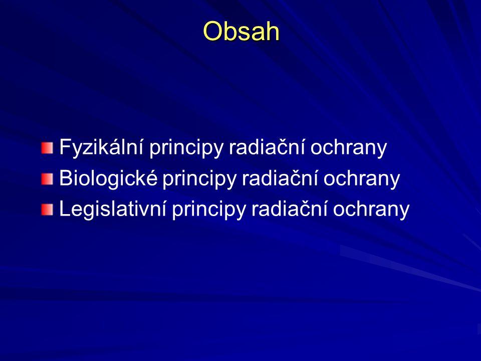 Legislativní principy radiační ochrany Zdůvodnění – §7 zákona č.