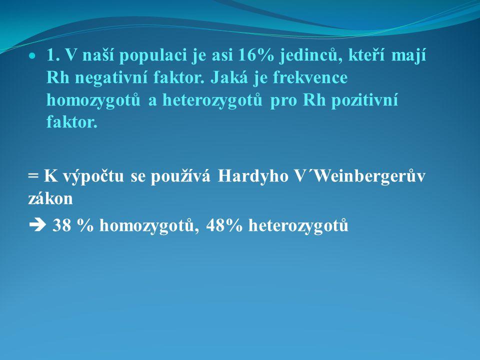  1.V naší populaci je asi 16% jedinců, kteří mají Rh negativní faktor.