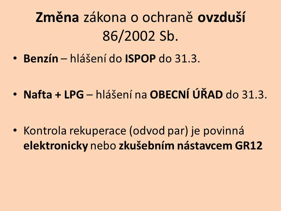 Změna zákona o ochraně ovzduší 86/2002 Sb. • Benzín – hlášení do ISPOP do 31.3. • Nafta + LPG – hlášení na OBECNÍ ÚŘAD do 31.3. • Kontrola rekuperace