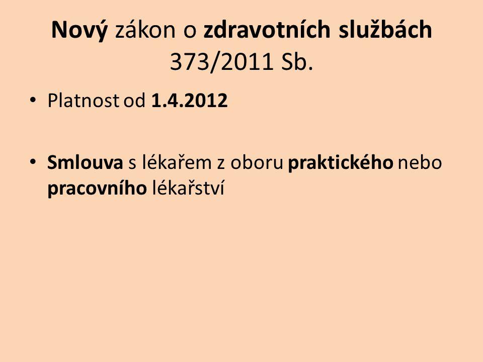Nový zákon o zdravotních službách 373/2011 Sb. • Platnost od 1.4.2012 • Smlouva s lékařem z oboru praktického nebo pracovního lékařství