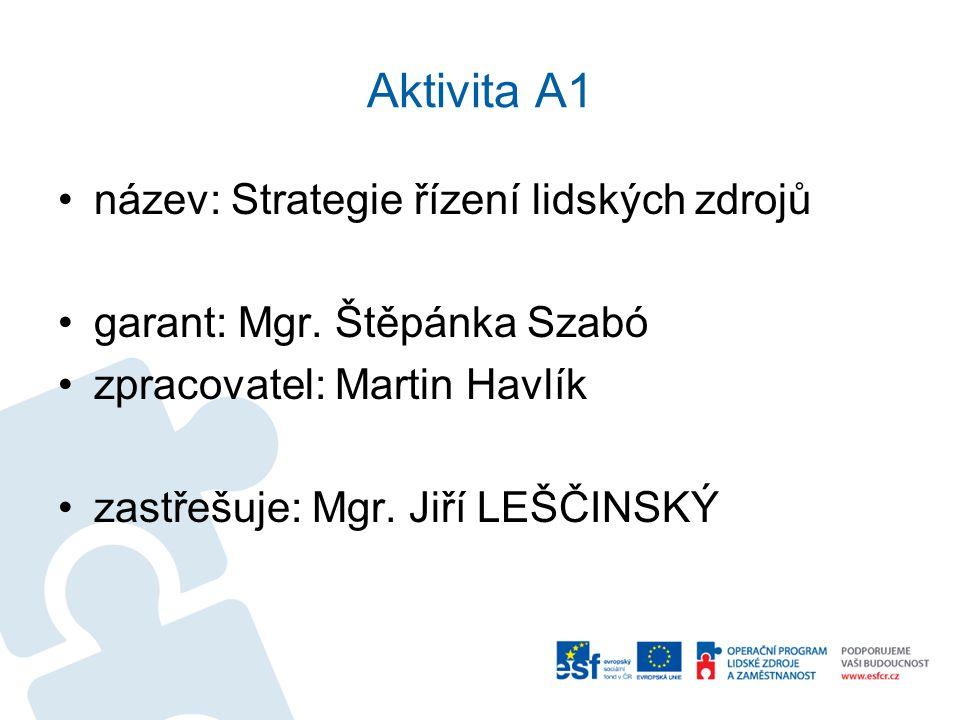 Aktivita A1 •název: Strategie řízení lidských zdrojů •garant: Mgr. Štěpánka Szabó •zpracovatel: Martin Havlík •zastřešuje: Mgr. Jiří LEŠČINSKÝ
