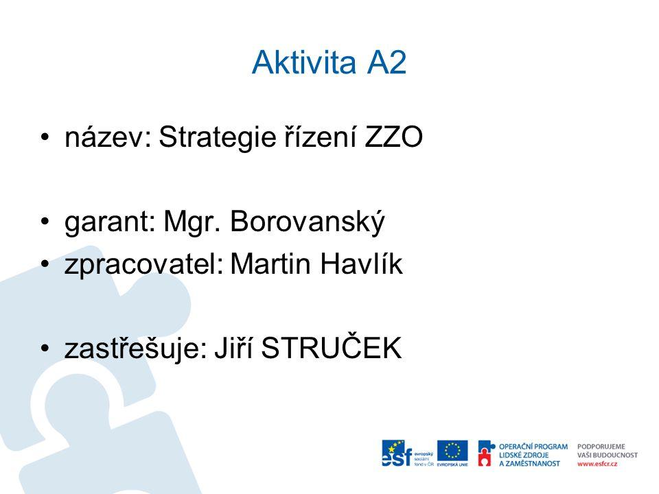 Aktivita A2 •název: Strategie řízení ZZO •garant: Mgr. Borovanský •zpracovatel: Martin Havlík •zastřešuje: Jiří STRUČEK