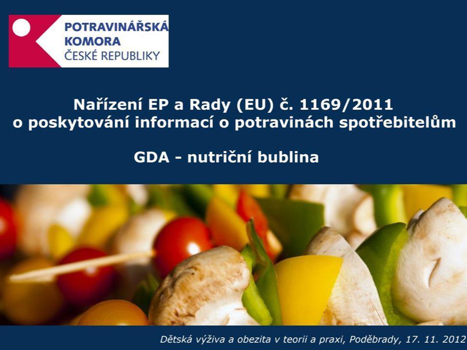 Definice GDA • procenty vyjádřený podíl doporučeného denního množství typických nutrientů (E, T, SAFA, C, soli) obsažený v přesně definovaném množství výrobku • legislativa EU poprvé jednoznačně a oficiálně připustila použití GDA • GDA může dobrovolně aplikovat jakýkoli potravinářský podnik za podmínek stanovených v nařízení • GDA obvykle vyjádřena na porci