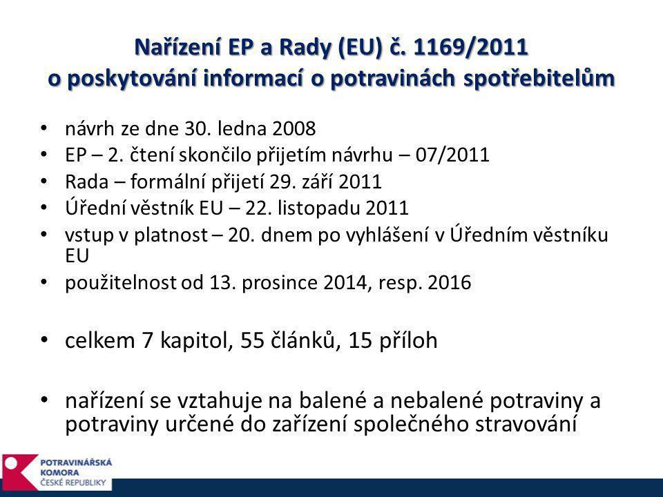 Nařízení EP a Rady (EU) č. 1169/2011 o poskytování informací o potravinách spotřebitelům • návrh ze dne 30. ledna 2008 • EP – 2. čtení skončilo přijet