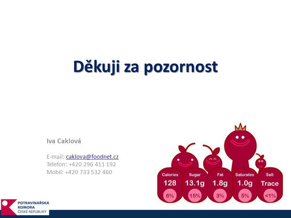 Děkuji za pozornost Iva Caklová E-mail: caklova@foodnet.czcaklova@foodnet.cz Telefon: +420 296 411 192 Mobil: +420 733 532 460