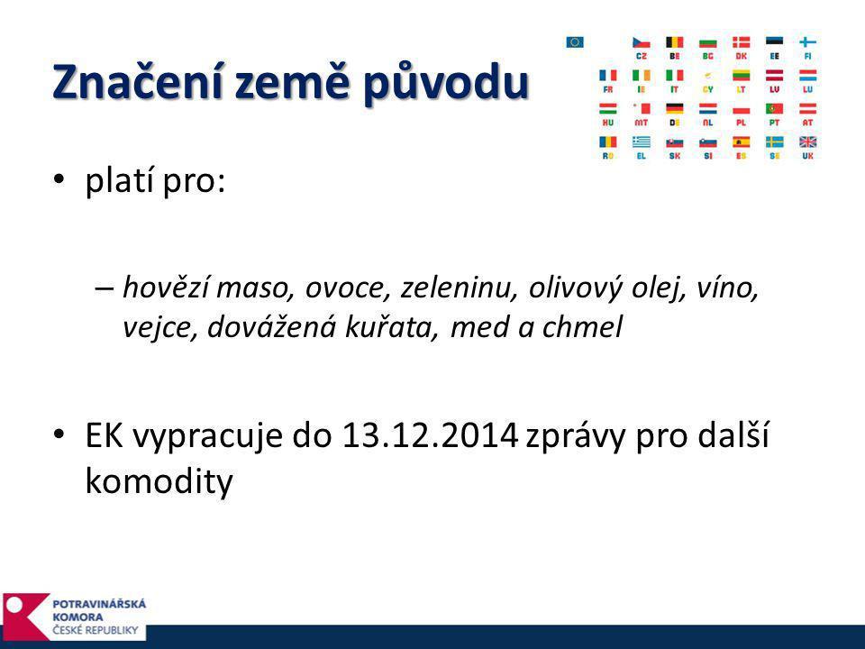 Značení země původu • platí pro: – hovězí maso, ovoce, zeleninu, olivový olej, víno, vejce, dovážená kuřata, med a chmel • EK vypracuje do 13.12.2014
