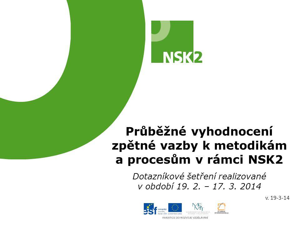 Průběžné vyhodnocení zpětné vazby k metodikám a procesům v rámci NSK2 Dotazníkové šetření realizované v období 19. 2. – 17. 3. 2014 v. 19-3-14