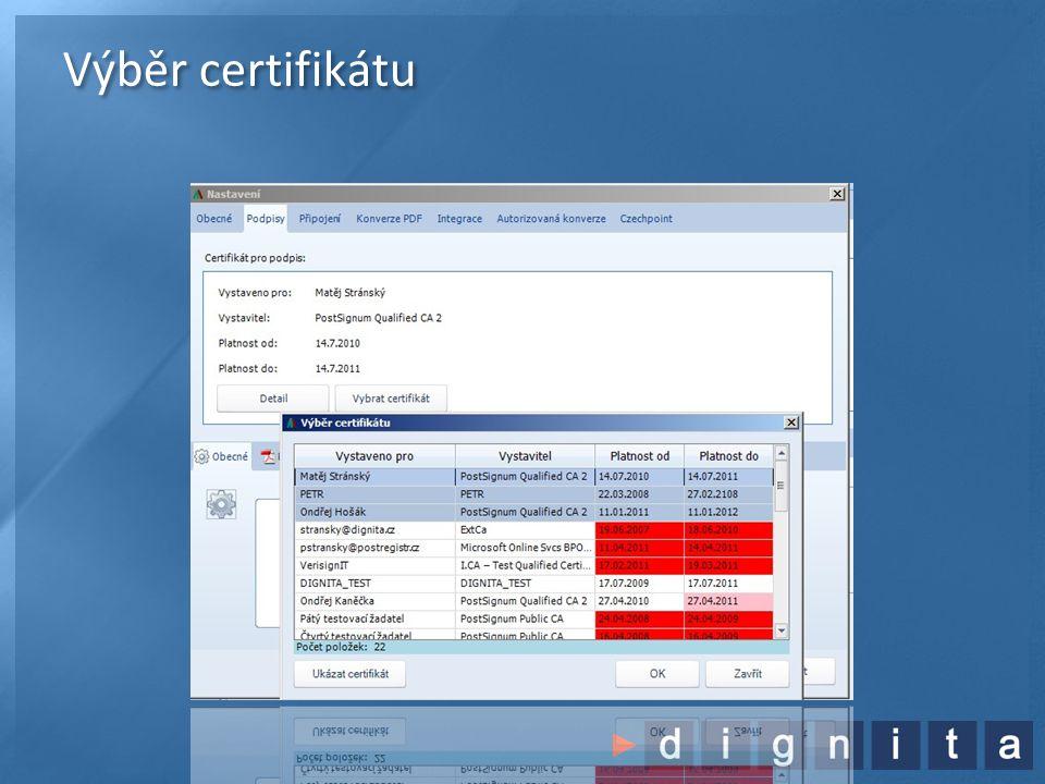 Podpis PDF dokumentu •Výběr certifikátu pro podpis (z HW nebo MS úložiště) •Nastavení parametrů podpisu •Viditelný / skrytý •Certifikační / klasický •Několikanásobný podpis (bez překrytí viditelného podpisu) •Hromadný podpis více dokumentů najednou •Přiložení časového razítka (smluvní záležitost s PostSignum) •Zápis do centrální knihy a uložení originálu i podepsané zprávy