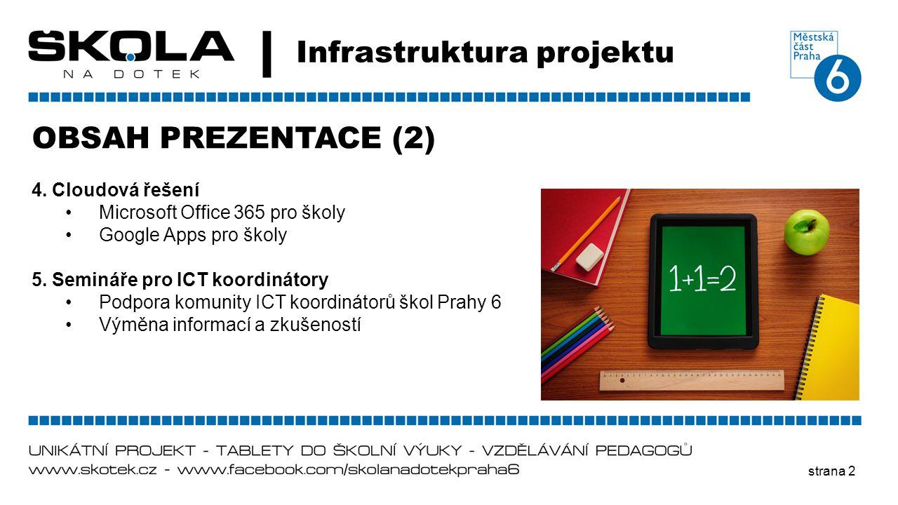 strana 2 Infrastruktura projektu OBSAH PREZENTACE (2) 4. Cloudová řešení •Microsoft Office 365 pro školy •Google Apps pro školy 5. Semináře pro ICT ko