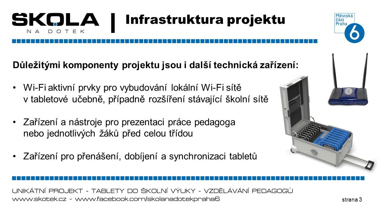 strana 3 Infrastruktura projektu Důležitými komponenty projektu jsou i další technická zařízení: •Wi-Fi aktivní prvky pro vybudování lokální Wi-Fi sít