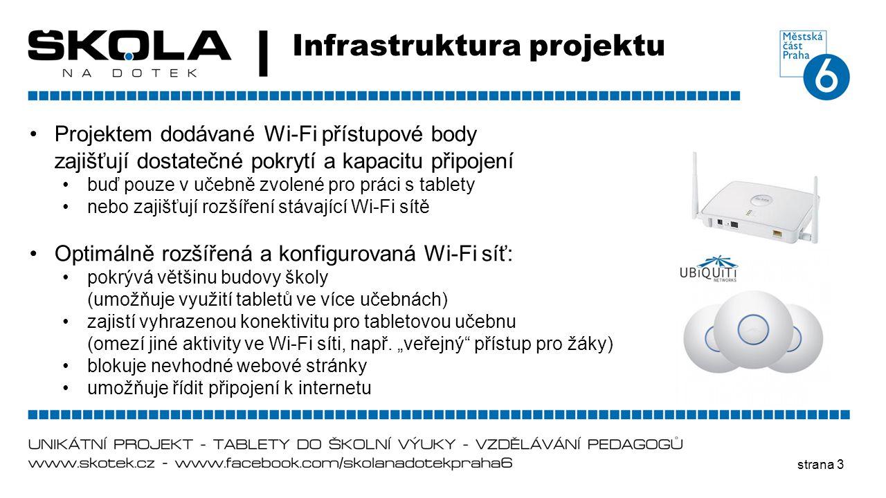 strana 3 Infrastruktura projektu •Projektem dodávané Wi-Fi přístupové body zajišťují dostatečné pokrytí a kapacitu připojení •buď pouze v učebně zvole