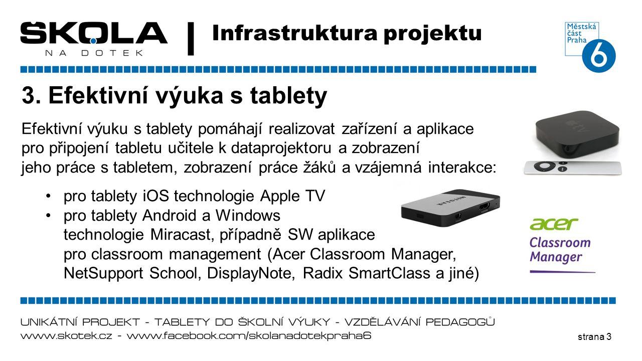 strana 3 Infrastruktura projektu 3. Efektivní výuka s tablety Efektivní výuku s tablety pomáhají realizovat zařízení a aplikace pro připojení tabletu