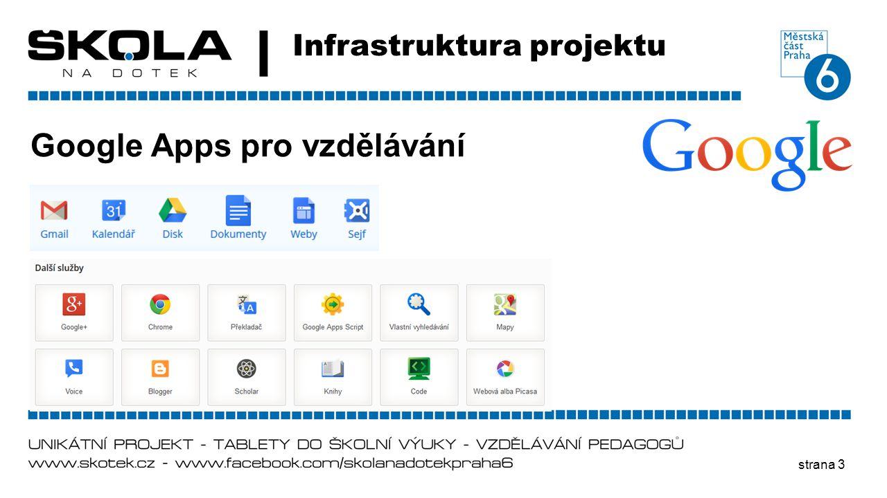 strana 3 Infrastruktura projektu Google Apps pro vzdělávání
