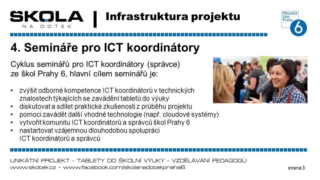 strana 3 Infrastruktura projektu 4. Semináře pro ICT koordinátory Cyklus seminářů pro ICT koordinátory (správce) ze škol Prahy 6, hlavní cílem seminář