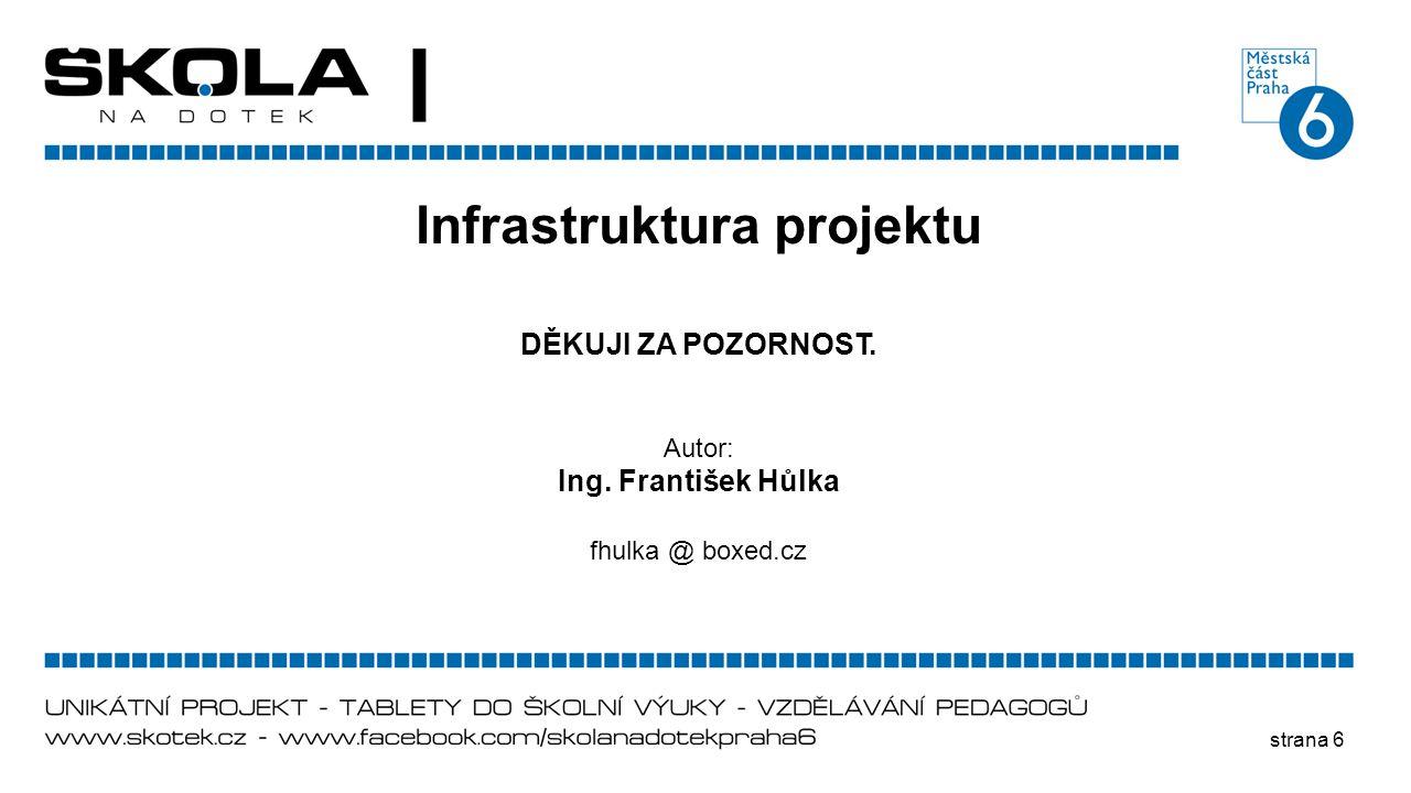 strana 6 Infrastruktura projektu DĚKUJI ZA POZORNOST. Autor: Ing. František Hůlka fhulka @ boxed.cz