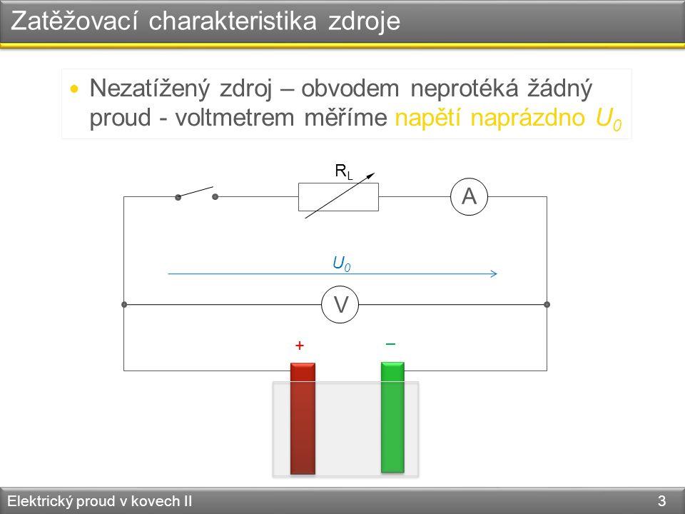 Zatěžovací charakteristika zdroje Elektrický proud v kovech II 3 RLRL – +  Nezatížený zdroj – obvodem neprotéká žádný proud - voltmetrem měříme napětí naprázdno U 0 A V U0U0