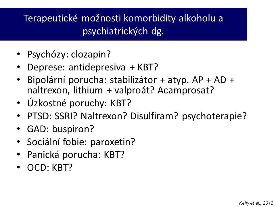• Psychózy: clozapin? • Deprese: antidepresiva + KBT? • Bipolární porucha: stabilizátor + atyp. AP + AD + naltrexon, lithium + valproát? Acamprosat? •