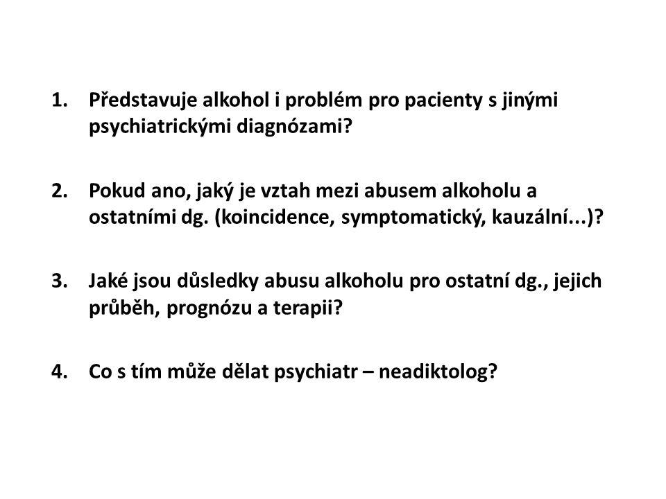 1.Představuje alkohol i problém pro pacienty s jinými psychiatrickými diagnózami? 2.Pokud ano, jaký je vztah mezi abusem alkoholu a ostatními dg. (koi