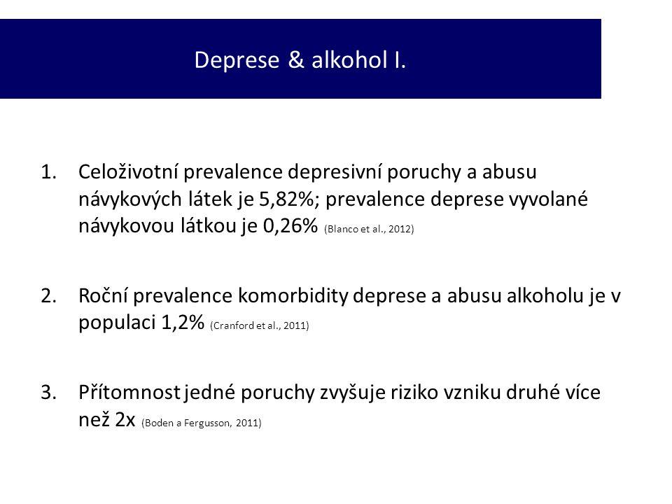 1.Celoživotní prevalence depresivní poruchy a abusu návykových látek je 5,82%; prevalence deprese vyvolané návykovou látkou je 0,26% (Blanco et al., 2