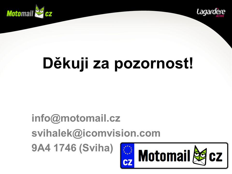 Děkuji za pozornost! info@motomail.cz svihalek@icomvision.com 9A4 1746 (Sviha)