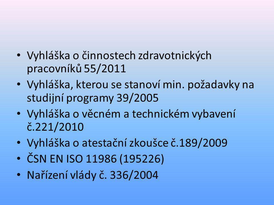 • Vyhláška o činnostech zdravotnických pracovníků 55/2011 • Vyhláška, kterou se stanoví min. požadavky na studijní programy 39/2005 • Vyhláška o věcné