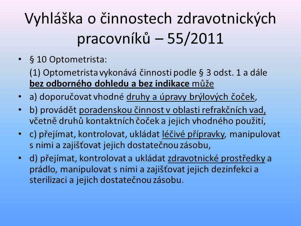 • (2) Optometrista bez odborného dohledu a bez indikace u osob starších 15 let věku může • a) vyšetřovat zrakové funkce a provádět metrická vyšetření refrakce oka, určovat refrakční vadu a provádět korekce, • b) rozhodovat, zda je ke korekci refrakční vady vhodné použít dioptrické brýle, kontaktní čočky nebo speciální optické pomůcky, a předepisovat je, zhotovovat a opravovat, • c) vyšetřovat v oblasti předního segmentu oka pro potřeby korekce refrakčních vad, • d) provádět poradenskou činnost v oblasti refrakčních vad, • e) při podezření na oční onemocnění doporučovat pacientům vyšetření u lékaře se specializovanou způsobilostí v oboru oftalmologie, • f) aplikovat kontaktní čočky a předávat je s poučením a doplňkovým sortimentem pacientům a provádět jejich následné kontroly.