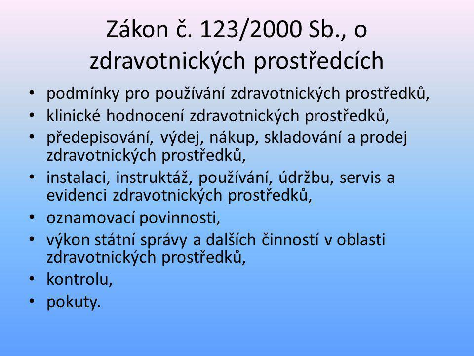 Zákon č. 123/2000 Sb., o zdravotnických prostředcích • podmínky pro používání zdravotnických prostředků, • klinické hodnocení zdravotnických prostředk