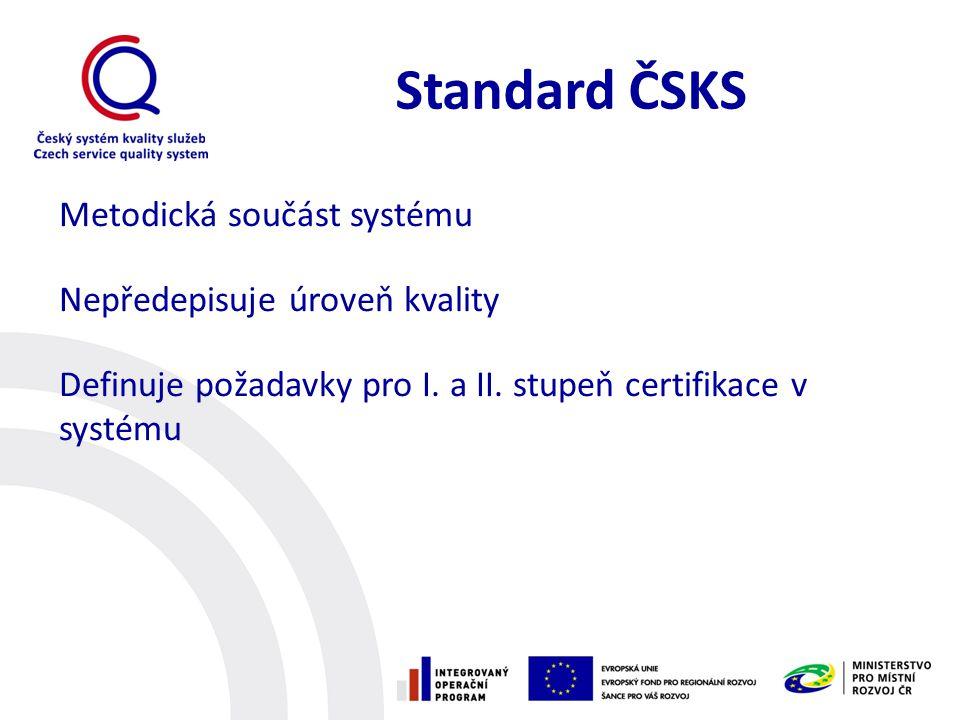 Standard ČSKS Metodická součást systému Nepředepisuje úroveň kvality Definuje požadavky pro I. a II. stupeň certifikace v systému