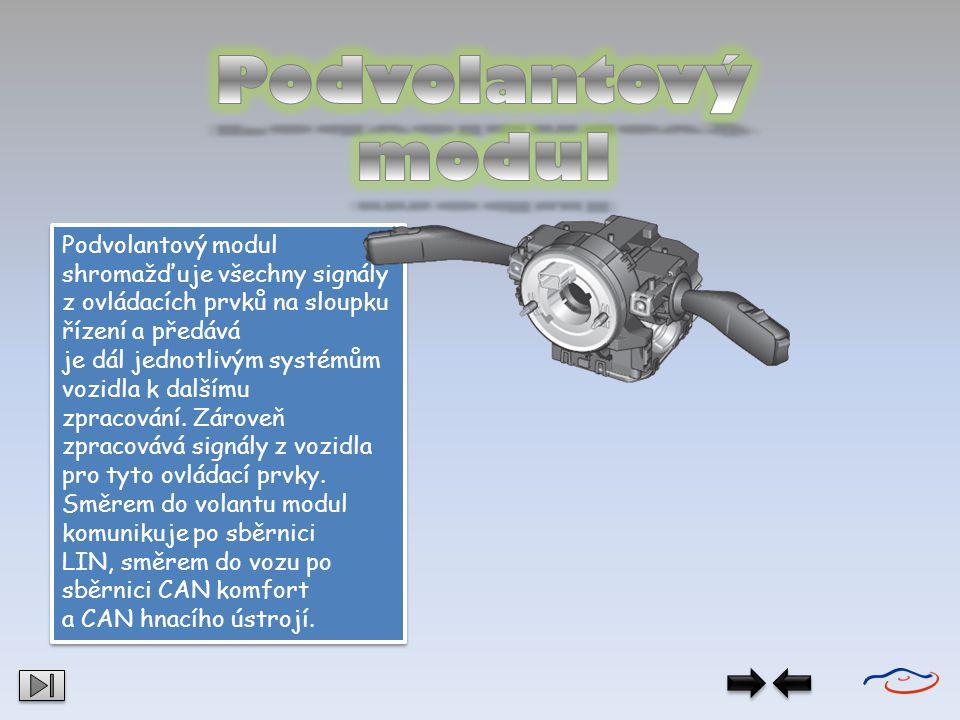 Podvolantový modul shromažďuje všechny signály z ovládacích prvků na sloupku řízení a předává je dál jednotlivým systémům vozidla k dalšímu zpracování
