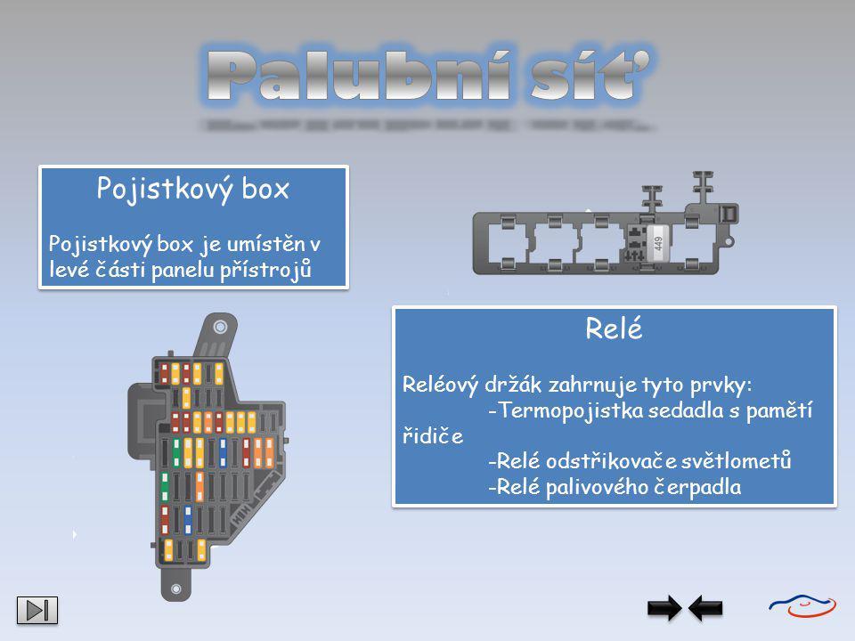 Pojistkový box Pojistkový box je umístěn v levé části panelu přístrojů Pojistkový box Pojistkový box je umístěn v levé části panelu přístrojů Relé Rel