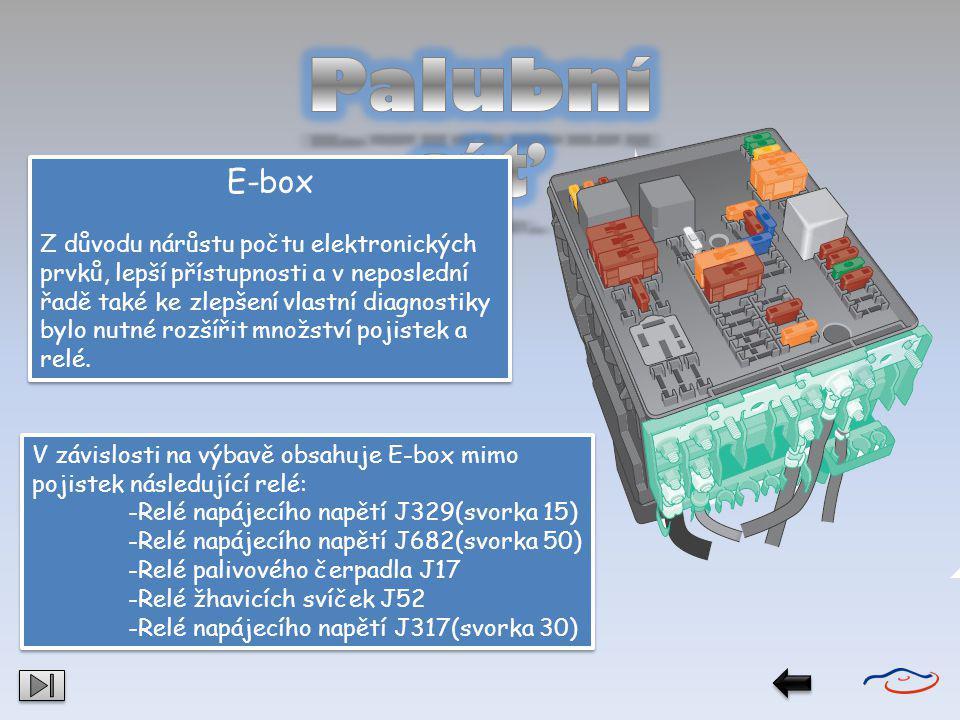 E-box Z důvodu nárůstu počtu elektronických prvků, lepší přístupnosti a v neposlední řadě také ke zlepšení vlastní diagnostiky bylo nutné rozšířit mno