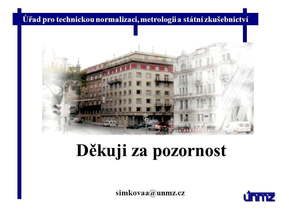 Úřad pro technickou normalizaci, metrologii a státní zkušebnictví Děkuji za pozornost simkovaa@unmz.cz