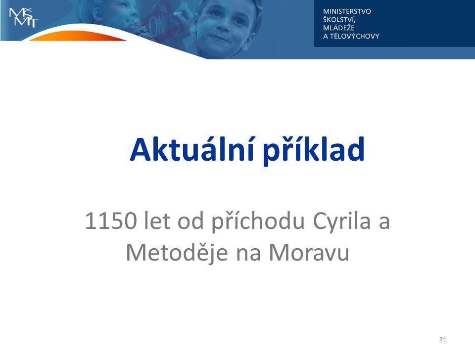 Aktuální příklad 1150 let od příchodu Cyrila a Metoděje na Moravu 21